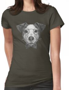 Jack Russell with glasses and bow tie Womens Fitted T-Shirt