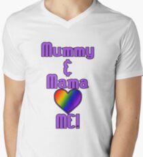 Mummy & Mama Love Me | Lesbian Parenting V-Neck T-Shirt