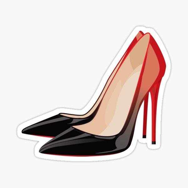 Designer Black and Red Gradient High Heel Pumps Sticker