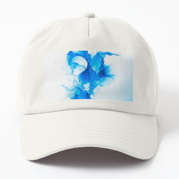 Blue abstract swirls on white background Dad Hat