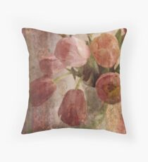 peach tulips Throw Pillow