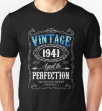 75th Birthday Gift For Men Vintage 1941 Aged To Perfection 75 Unisex T Shirt