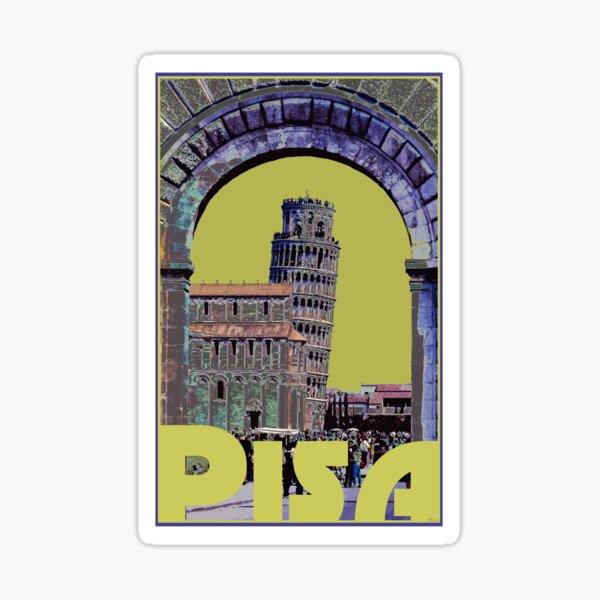 Leaning Tower of Pisa Retro Travel Sticker