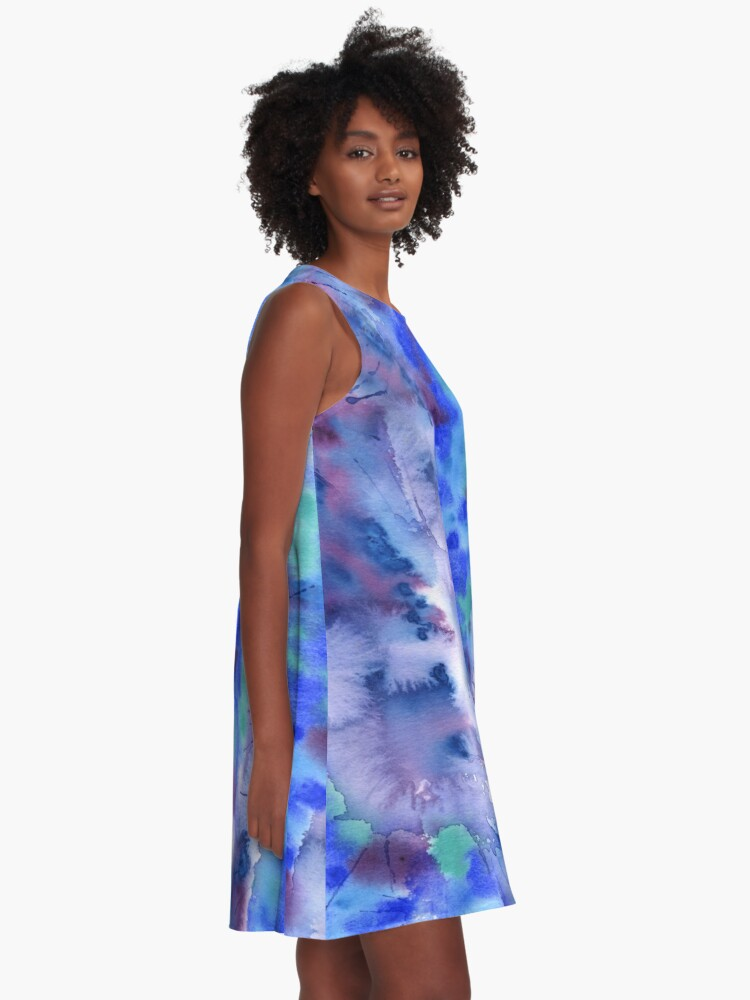 Alternate view of Watercolor Abstract Hand-Painted Blue Purple Turquoise Violet A-Line Dress
