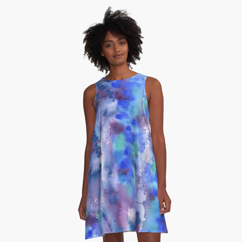 Watercolor Abstract Hand-Painted Blue Purple Turquoise Violet A-Line Dress