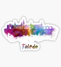Toledo skyline in watercolor Sticker