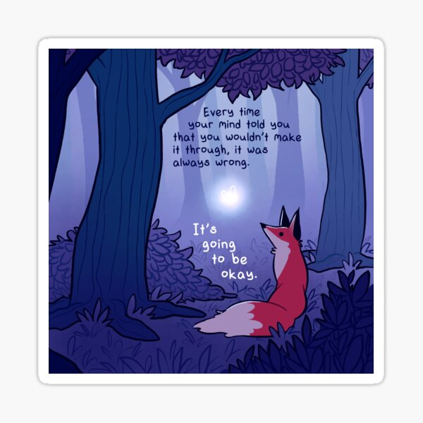 """""""It's Going to Be Okay"""" Fairy and Fox in Forest Sticker"""