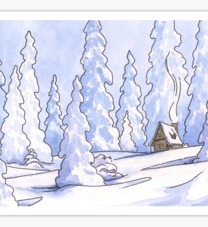 Winter Cabin Sticker