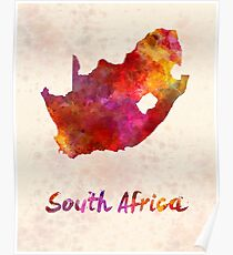 South Africa  in watercolor Poster