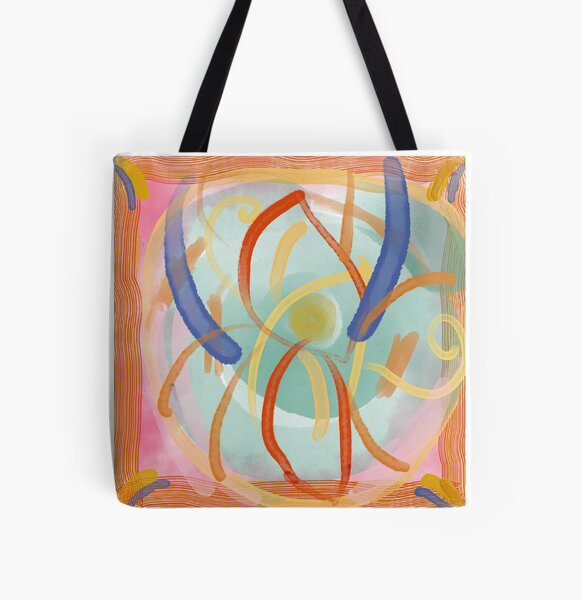 Red and Purple pattern All Over Print Tote Bag