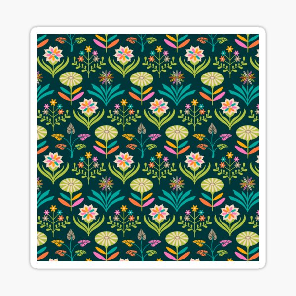 TAMI MOD FLORAL PATTERN - Bright Colours - UnBlink Studio by Jackie Tahara Sticker