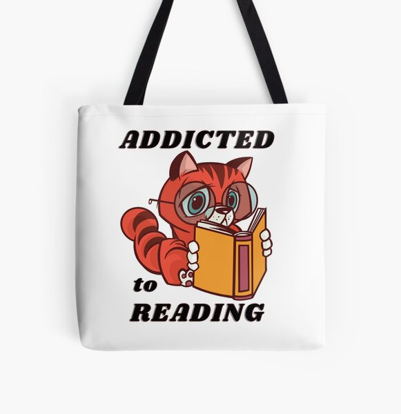 Cute Orange Cat Addicted to Reading All Over Print Tote Bag