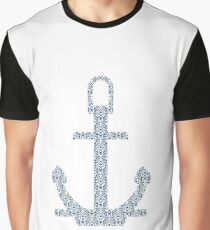 Abstract Anchor Silhouette with Pattern Graphic T-Shirt