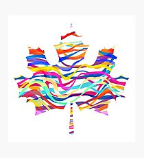 Abstract Maple Leaf Silhouette with Pattern Photographic Print