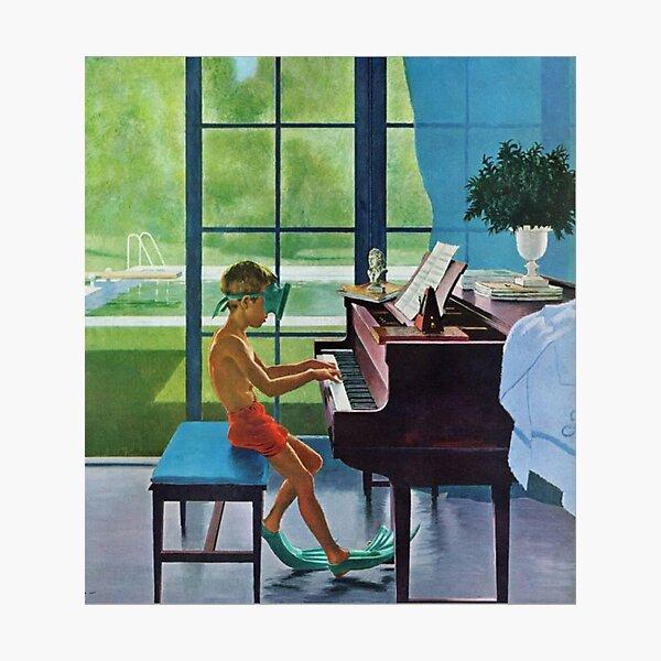 Poolside Piano Practice, June 11, 1960 Photographic Print