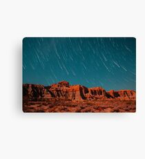 Star Trails Comets Streak Over Red Rock Canyon Canvas Print
