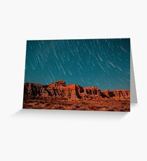 Star Trails Comets Streak Over Red Rock Canyon Greeting Card