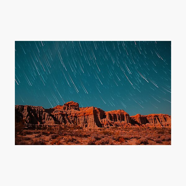 Star Trails Comets Streak Over Red Rock Canyon Photographic Print