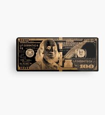One Hundred US Dollar Bill - $100 USD in Gold on Black Metal Print