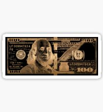 One Hundred US Dollar Bill - $100 USD in Gold on Black Sticker