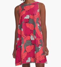 Purrrfect Pattern (Red) A-Line Dress