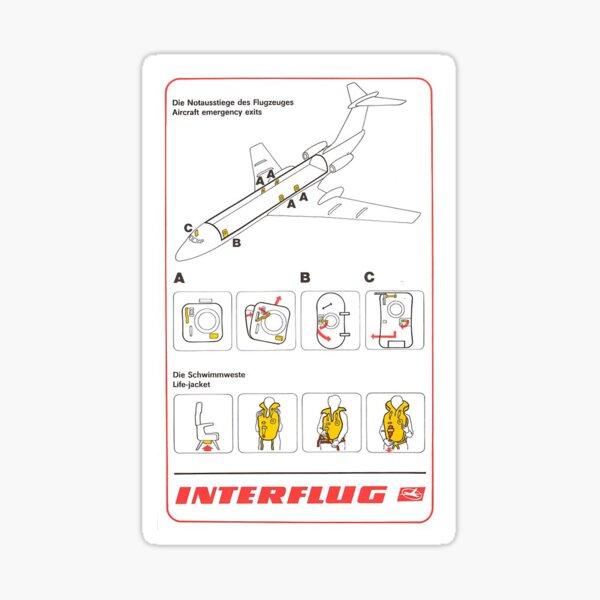 Interflug Tu-134A safety card  Sticker