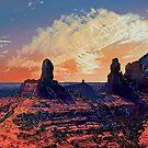 Sedona cliffs at dusk ! by Nancy Richard