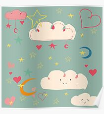 Cute clouds blue background Poster