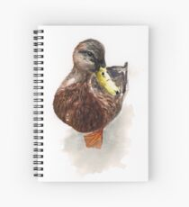 Watercolor Duck Asking for Food Spiral Notebook