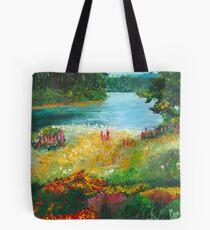 Flower Landscape Palette Knife Painting Tote Bag