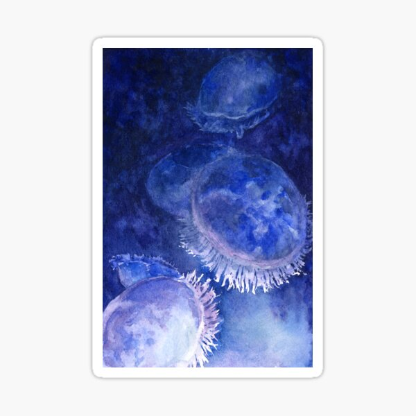 Watercolor Moon Jellyfish at the Seattle Aquarium Sticker