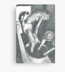 Woman Bathing Pencil Drawing Canvas Print
