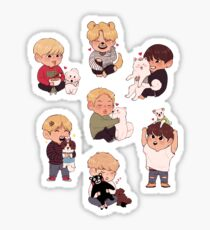 bangtan pups (best suitable for medium and large sizes) Sticker