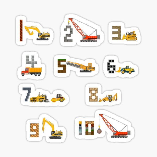 Construction Vehicles Counting - The Kids' Picture Show Sticker