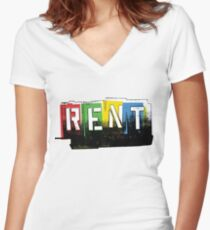 Rent Logo Color Women's Fitted V-Neck T-Shirt