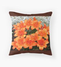 Orange Lilies in My Garden Throw Pillow