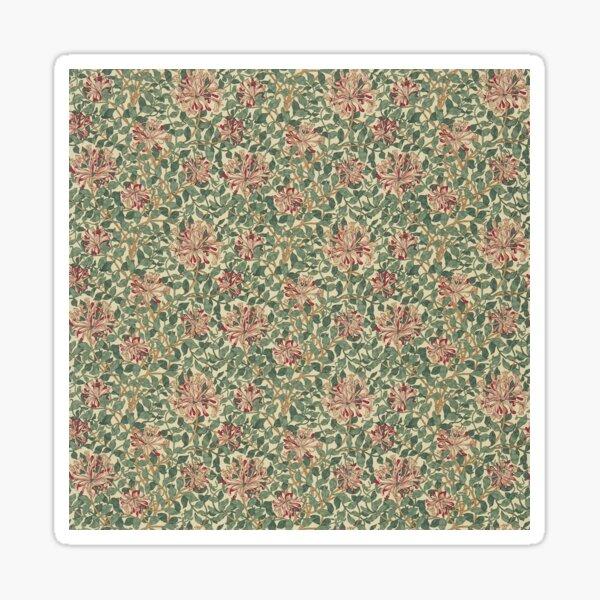 William Morris Honeysuckle Cream Wine Green Vintage Floral Pattern Sticker