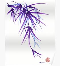 Summer - Lavender bamboo sumie brush painting Poster