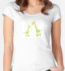 Vector Illustration of giraffe mother and son. Beautiful Kids illustration. Women's Fitted Scoop T-Shirt