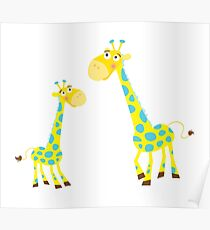 Vector Illustration of giraffe mother and son. Beautiful Kids illustration. Poster