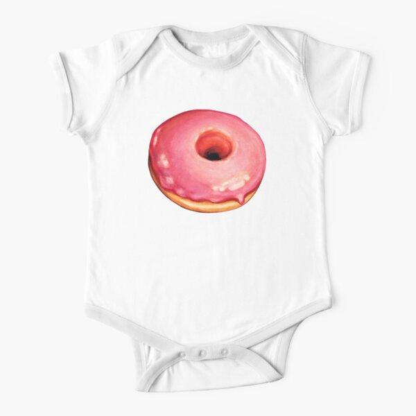 Strawberry Donut Pattern Short Sleeve Baby One-Piece