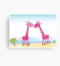 Giraffes in Love. Vector Illustration Canvas Print