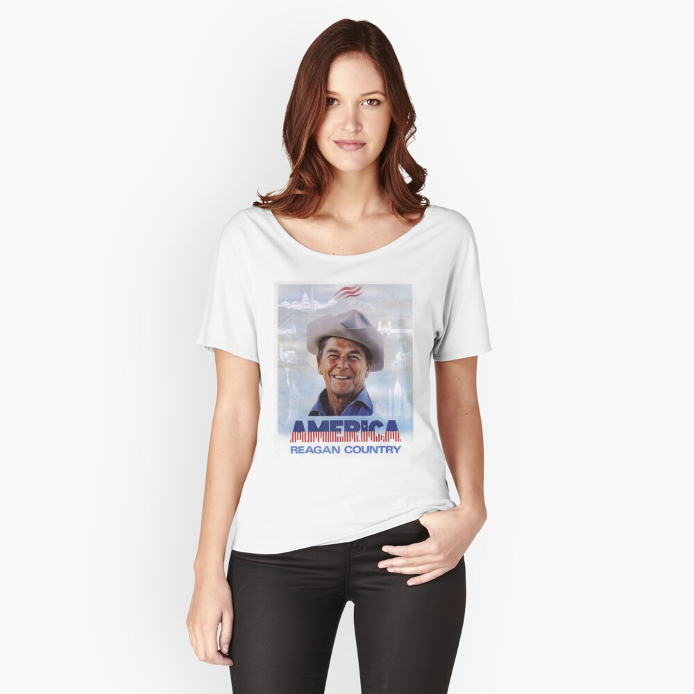 America Reagan Country - Vintage 1980s Campaign Poster Relaxed Fit T-Shirt