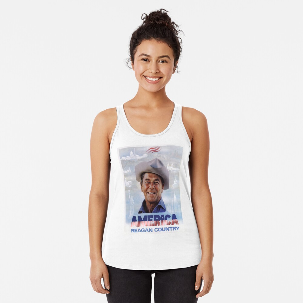 America Reagan Country - Vintage 1980s Campaign Poster Racerback Tank Top