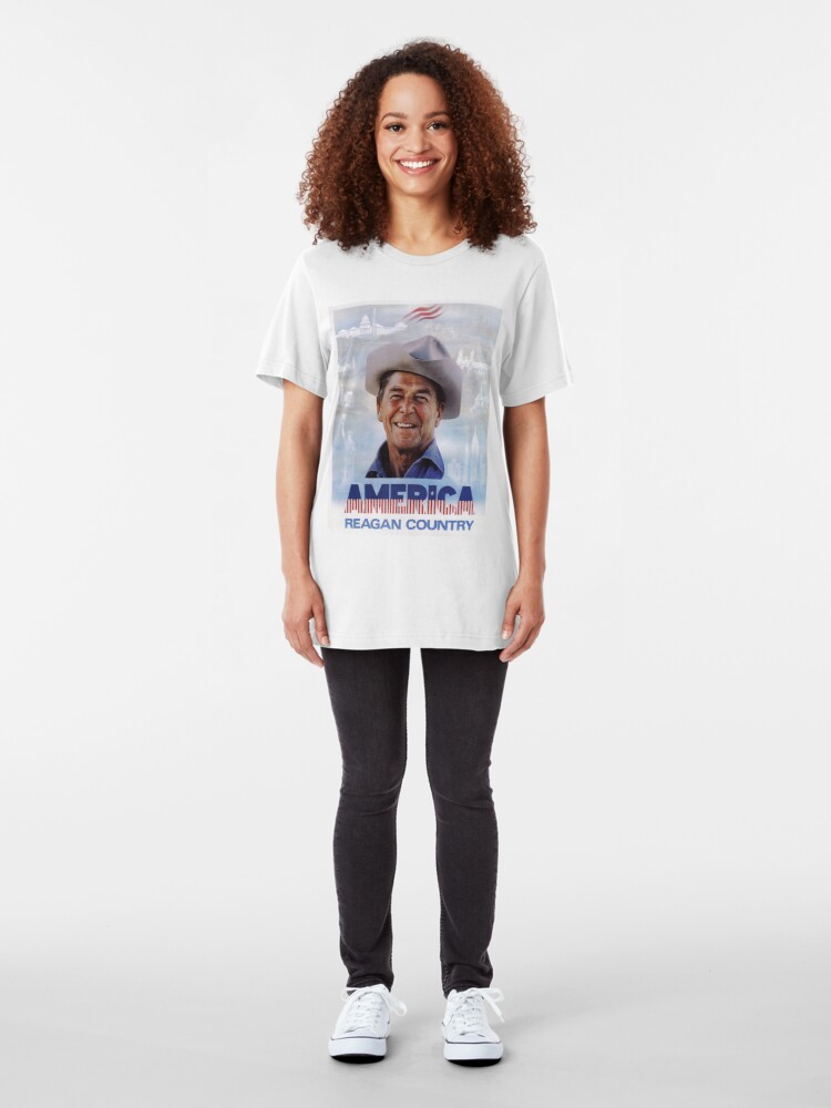 Alternate view of America Reagan Country - Vintage 1980s Campaign Poster Slim Fit T-Shirt