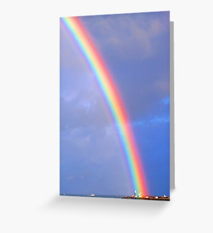 Rainbow Over The Lighthouse - Fremantle Western Australia Greeting Card