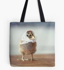 Baby Chicken in a Tiny White Scarf Tote Bag