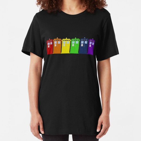 Rainbow Tardis' Slim Fit T-Shirt