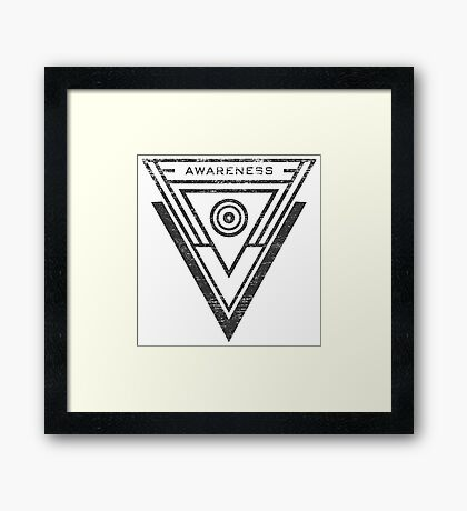 Awareness - Typography and Geometry Framed Print