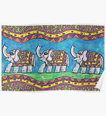 Groovy Elephant Parade Poster